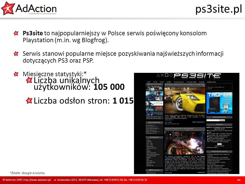 ps3site.pl Ps3site to najpopularniejszy w Polsce serwis poświęcony konsolom Playstation (m.in. wg Blogfrog). Serwis stanowi popularne miejsce pozyskiw