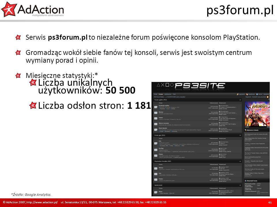 ps3forum.pl Serwis ps3forum.pl to niezależne forum poświęcone konsolom PlayStation. Gromadząc wokół siebie fanów tej konsoli, serwis jest swoistym cen