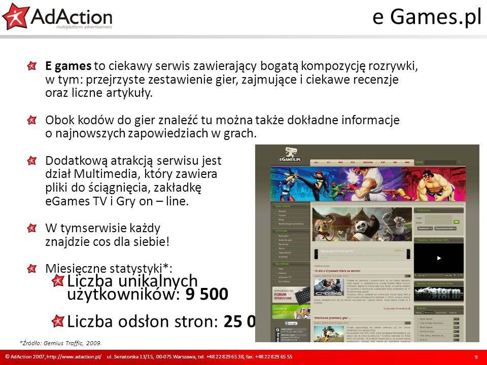 e Games.pl E games to ciekawy serwis zawierający bogatą kompozycję rozrywki, w tym: przejrzyste zestawienie gier, zajmujące i ciekawe recenzje oraz li