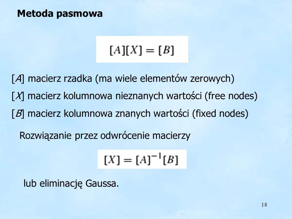 18 [A] macierz rzadka (ma wiele elementów zerowych) [X] macierz kolumnowa nieznanych wartości (free nodes) [B] macierz kolumnowa znanych wartości (fixed nodes) Rozwiązanie przez odwrócenie macierzy lub eliminację Gaussa.
