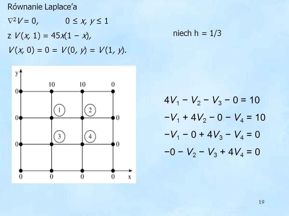 19 Równanie Laplacea 2 V = 0, 0 x, y 1 z V (x, 1) = 45x(1 x), V (x, 0) = 0 = V (0, y) = V (1, y).
