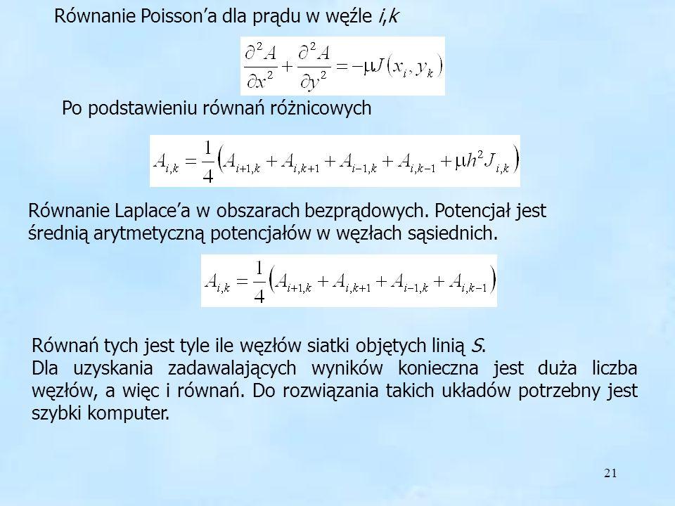 21 Równanie Poissona dla prądu w węźle i,k Po podstawieniu równań różnicowych Równanie Laplacea w obszarach bezprądowych.