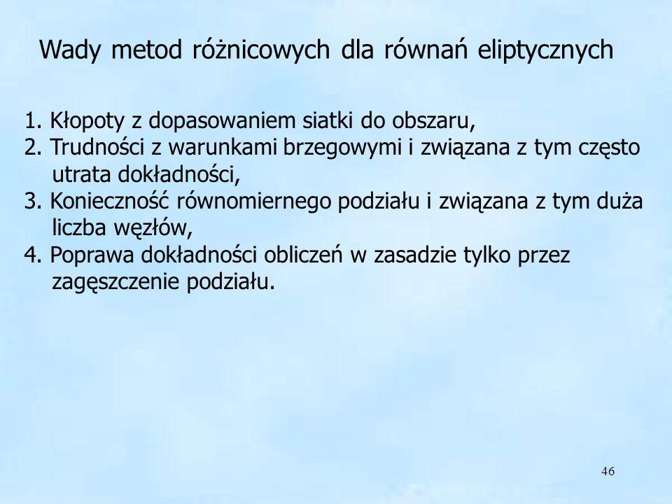 46 Wady metod różnicowych dla równań eliptycznych 1.