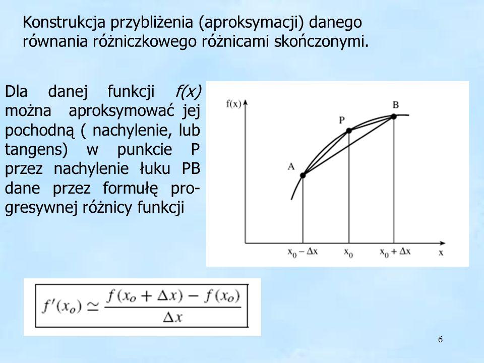 6 Dla danej funkcji f(x) można aproksymować jej pochodną ( nachylenie, lub tangens) w punkcie P przez nachylenie łuku PB dane przez formułę pro- gresywnej różnicy funkcji Konstrukcja przybliżenia (aproksymacji) danego równania różniczkowego różnicami skończonymi.