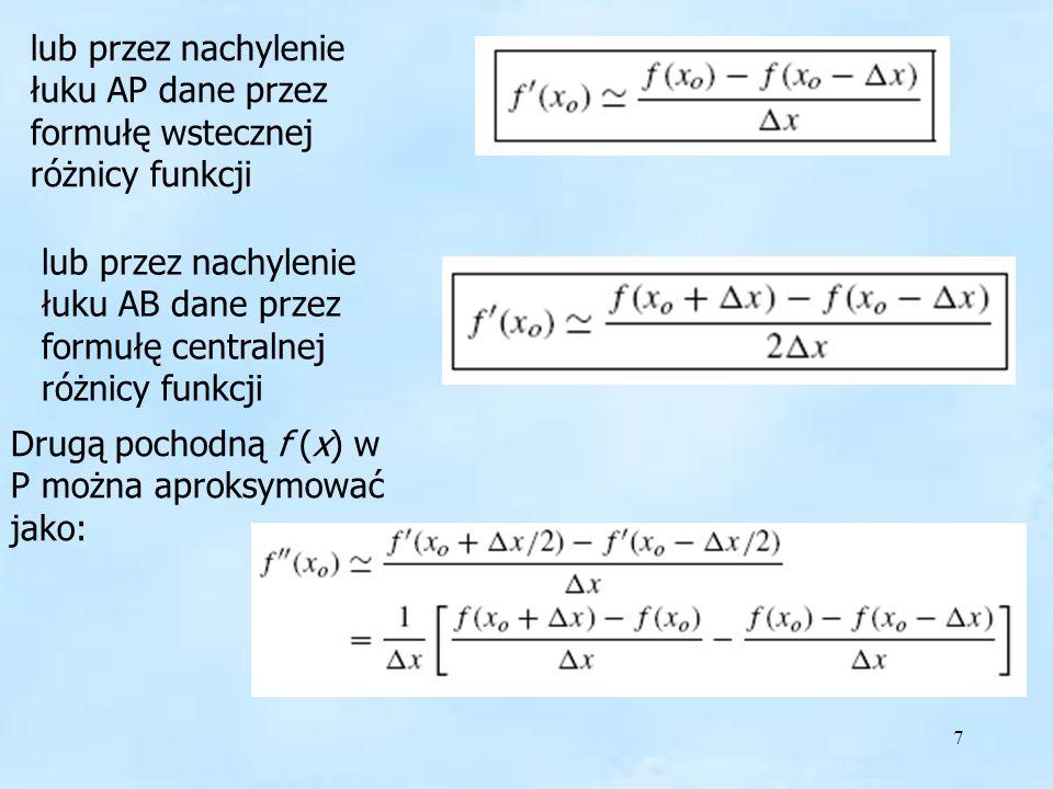 7 lub przez nachylenie łuku AP dane przez formułę wstecznej różnicy funkcji lub przez nachylenie łuku AB dane przez formułę centralnej różnicy funkcji Drugą pochodną f (x) w P można aproksymować jako: