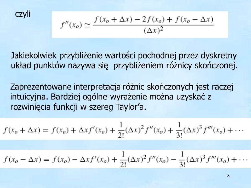 8 Jakiekolwiek przybliżenie wartości pochodnej przez dyskretny układ punktów nazywa się przybliżeniem różnicy skończonej.