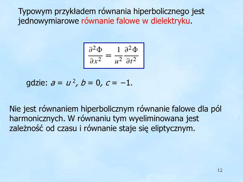 12 Typowym przykładem równania hiperbolicznego jest jednowymiarowe równanie falowe w dielektryku. gdzie: a = u 2, b = 0, c = 1. Nie jest równaniem hip