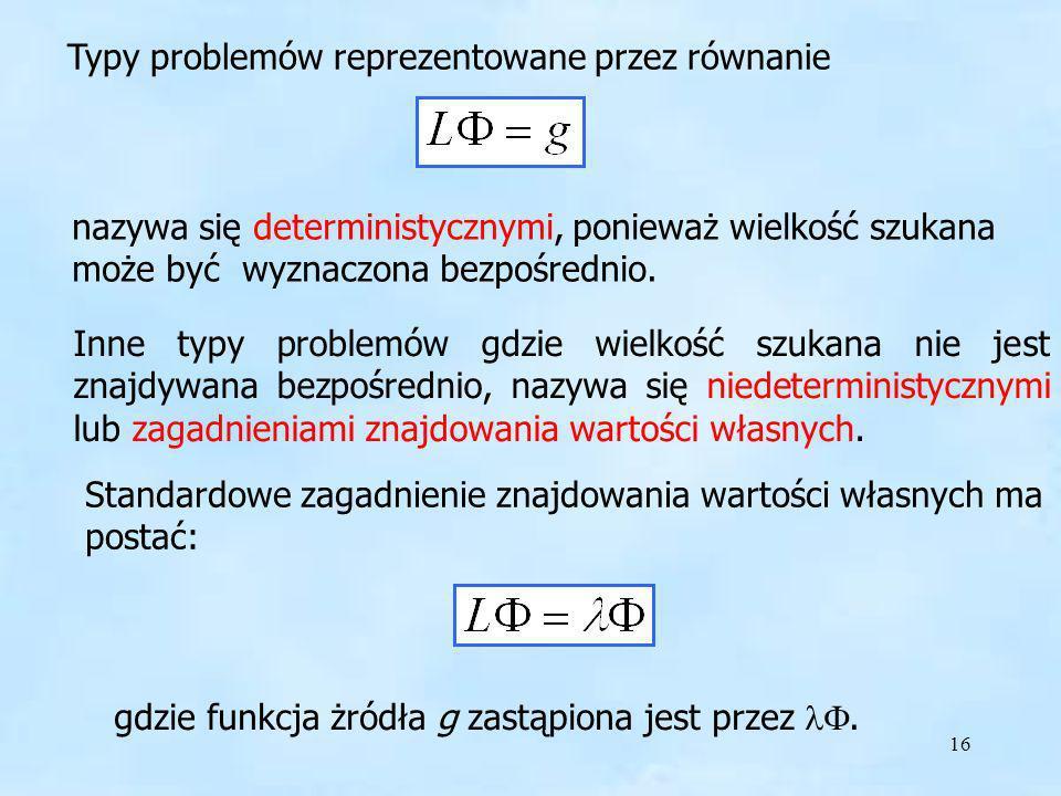 16 Typy problemów reprezentowane przez równanie nazywa się deterministycznymi, ponieważ wielkość szukana może być wyznaczona bezpośrednio. Inne typy p