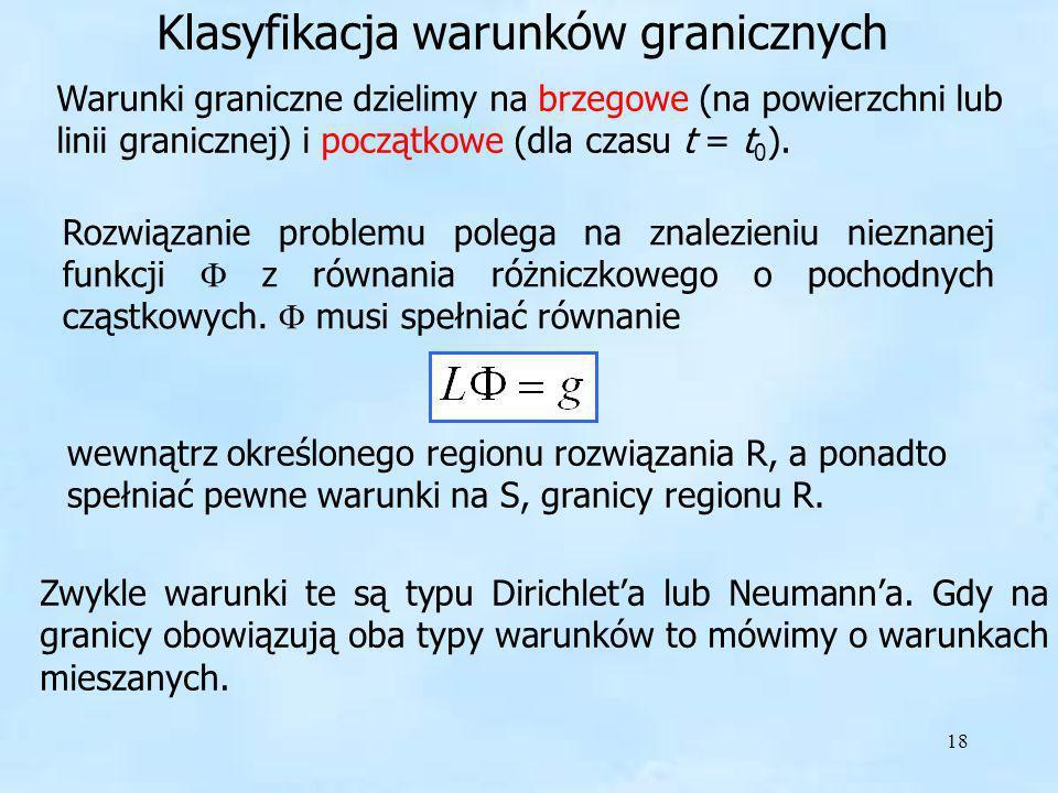 18 Klasyfikacja warunków granicznych Rozwiązanie problemu polega na znalezieniu nieznanej funkcji z równania różniczkowego o pochodnych cząstkowych. m