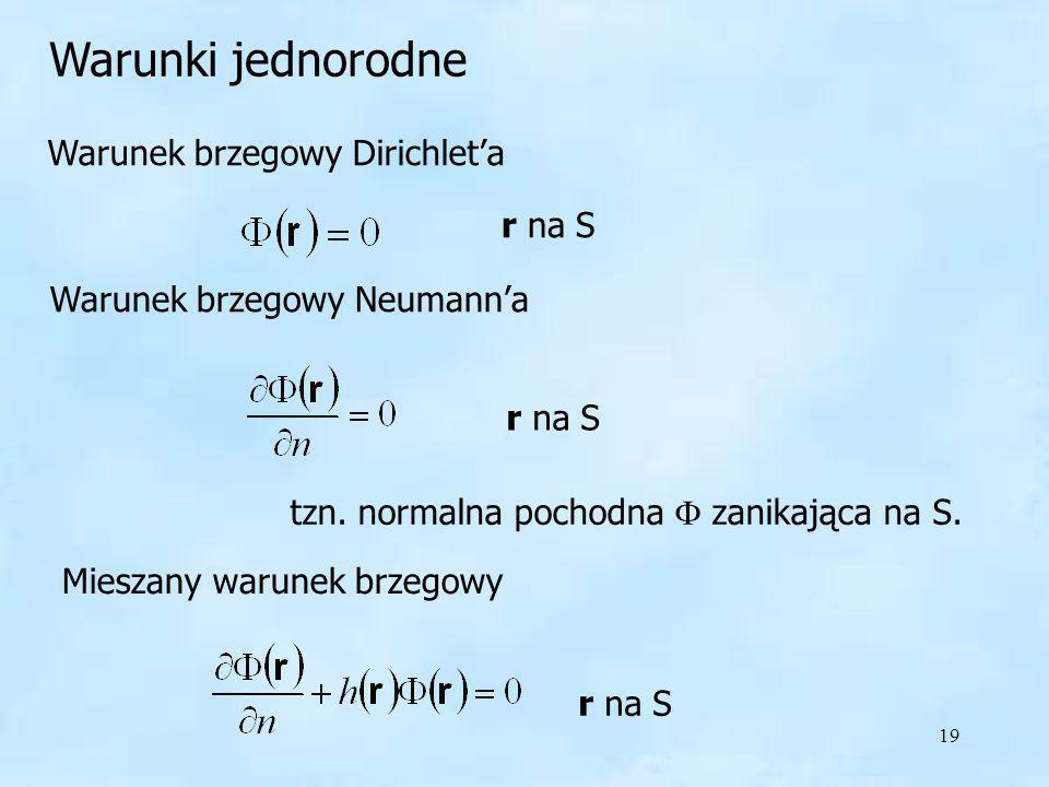 19 Warunek brzegowy Dirichleta r na S Warunek brzegowy Neumanna r na S tzn. normalna pochodna zanikająca na S. Mieszany warunek brzegowy r na S Warunk