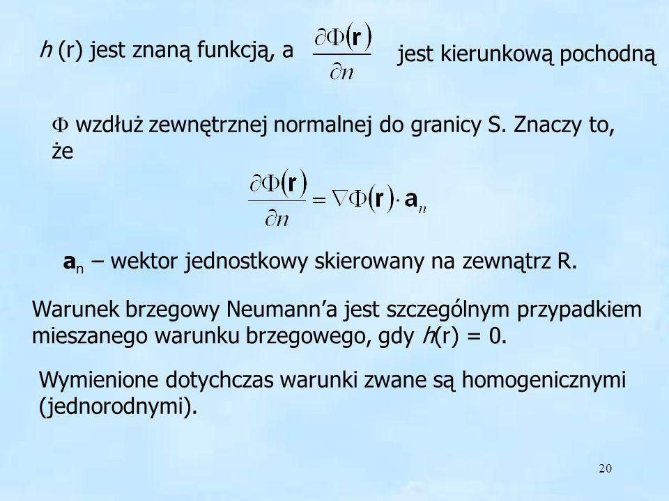 20 h (r) jest znaną funkcją, a jest kierunkową pochodną wzdłuż zewnętrznej normalnej do granicy S. Znaczy to, że a n – wektor jednostkowy skierowany n