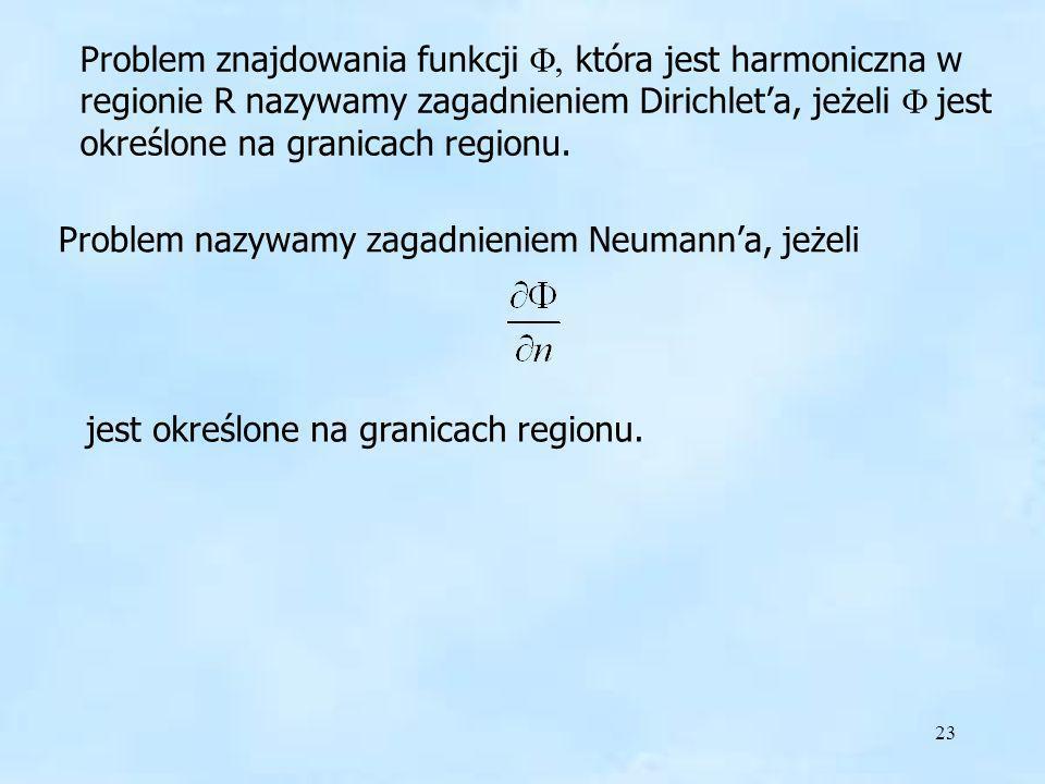 23 Problem znajdowania funkcji która jest harmoniczna w regionie R nazywamy zagadnieniem Dirichleta, jeżeli jest określone na granicach regionu. Probl