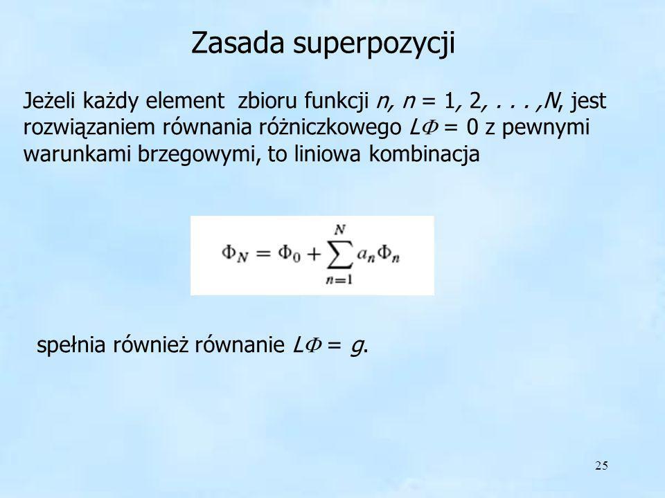 25 Zasada superpozycji Jeżeli każdy element zbioru funkcji n, n = 1, 2,...,N, jest rozwiązaniem równania różniczkowego L = 0 z pewnymi warunkami brzeg