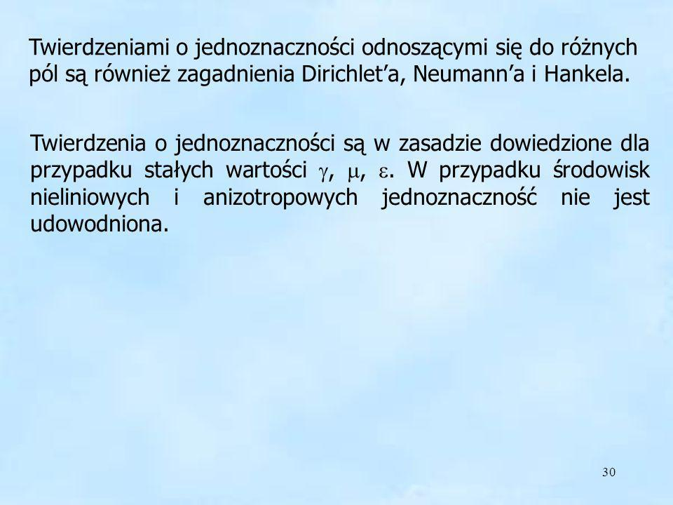 30 Twierdzeniami o jednoznaczności odnoszącymi się do różnych pól są również zagadnienia Dirichleta, Neumanna i Hankela. Twierdzenia o jednoznaczności