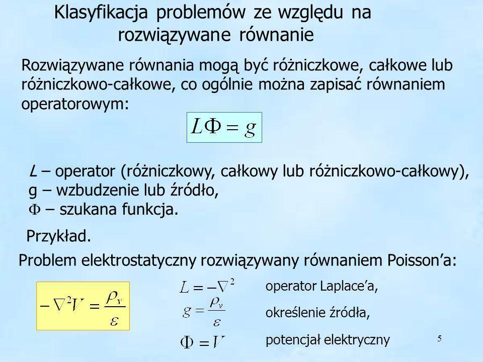 5 Klasyfikacja problemów ze względu na rozwiązywane równanie Klasyfikacja problemów ze względu na rozwiązywane równanie Rozwiązywane równania mogą być