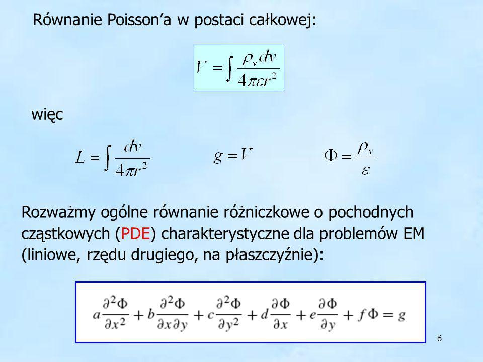 6 Równanie Poissona w postaci całkowej: więc Rozważmy ogólne równanie różniczkowe o pochodnych cząstkowych (PDE) charakterystyczne dla problemów EM (l