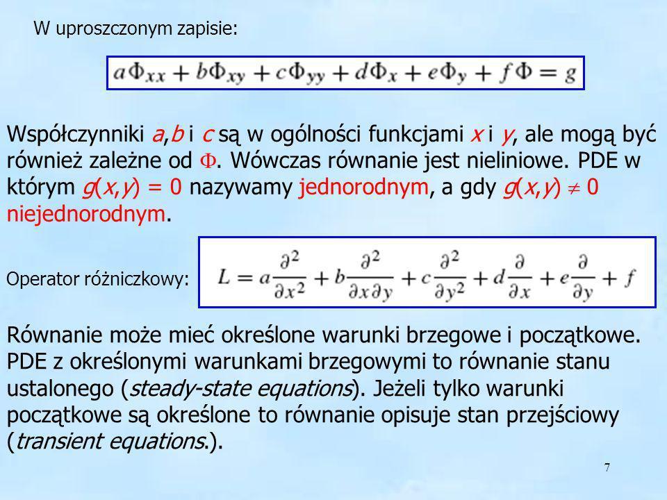 7 W uproszczonym zapisie: Współczynniki a,b i c są w ogólności funkcjami x i y, ale mogą być również zależne od. Wówczas równanie jest nieliniowe. PDE