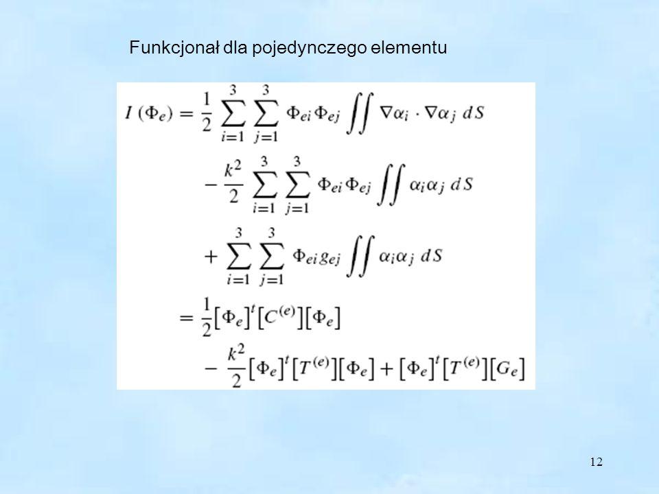12 Funkcjonał dla pojedynczego elementu