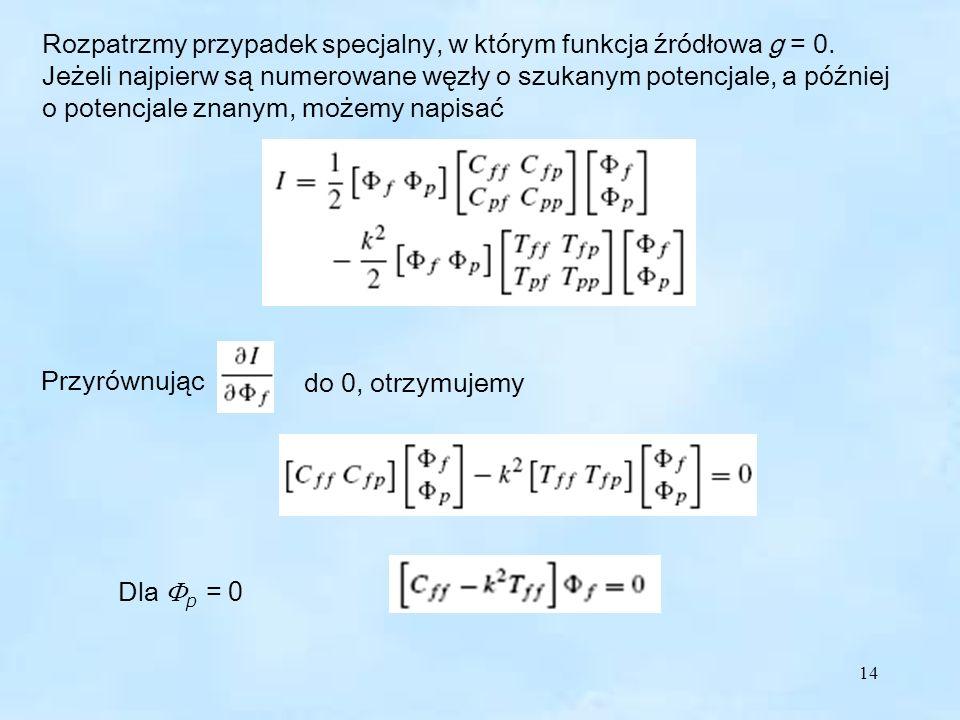 14 Rozpatrzmy przypadek specjalny, w którym funkcja źródłowa g = 0.