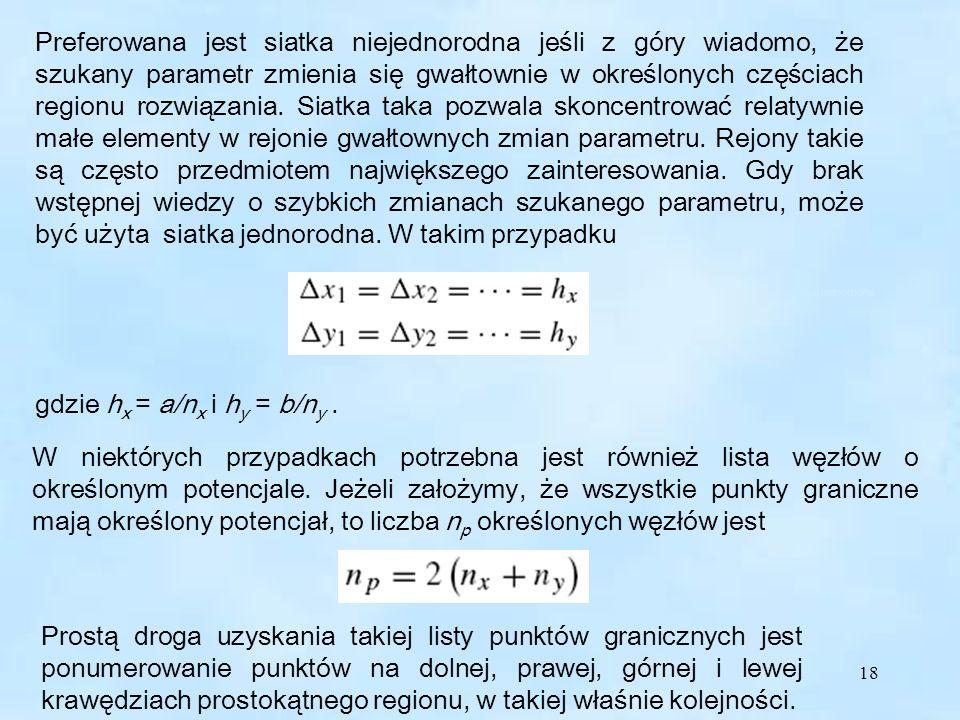18 Preferowana jest siatka niejednorodna jeśli z góry wiadomo, że szukany parametr zmienia się gwałtownie w określonych częściach regionu rozwiązania.