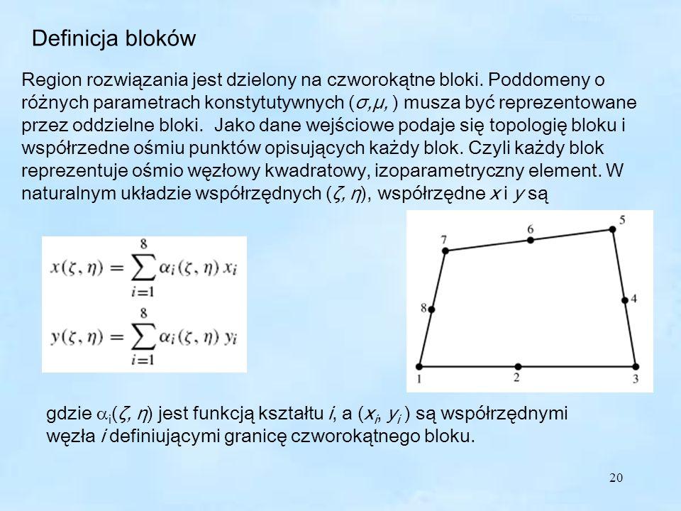 20 Definicja bloków Region rozwiązania jest dzielony na czworokątne bloki.
