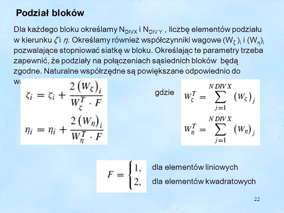 22 Podział bloków Dla każdego bloku określamy N DIVX i N DIV Y, liczbę elementów podziału w kierunku ζ i η.