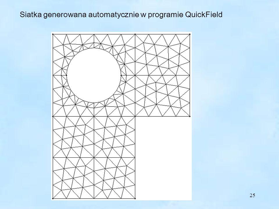 25 QuickField Siatka generowana automatycznie w programie QuickField