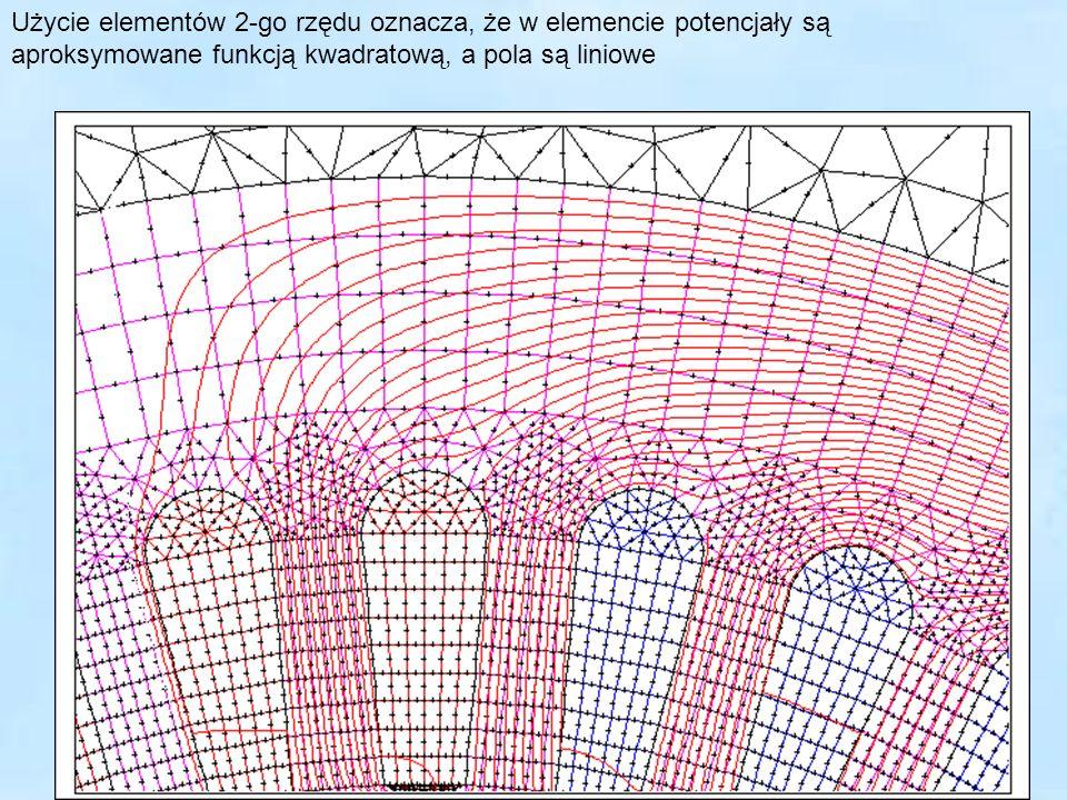 35 Użycie elementów 2-go rzędu oznacza, że w elemencie potencjały są aproksymowane funkcją kwadratową, a pola są liniowe Linie pola