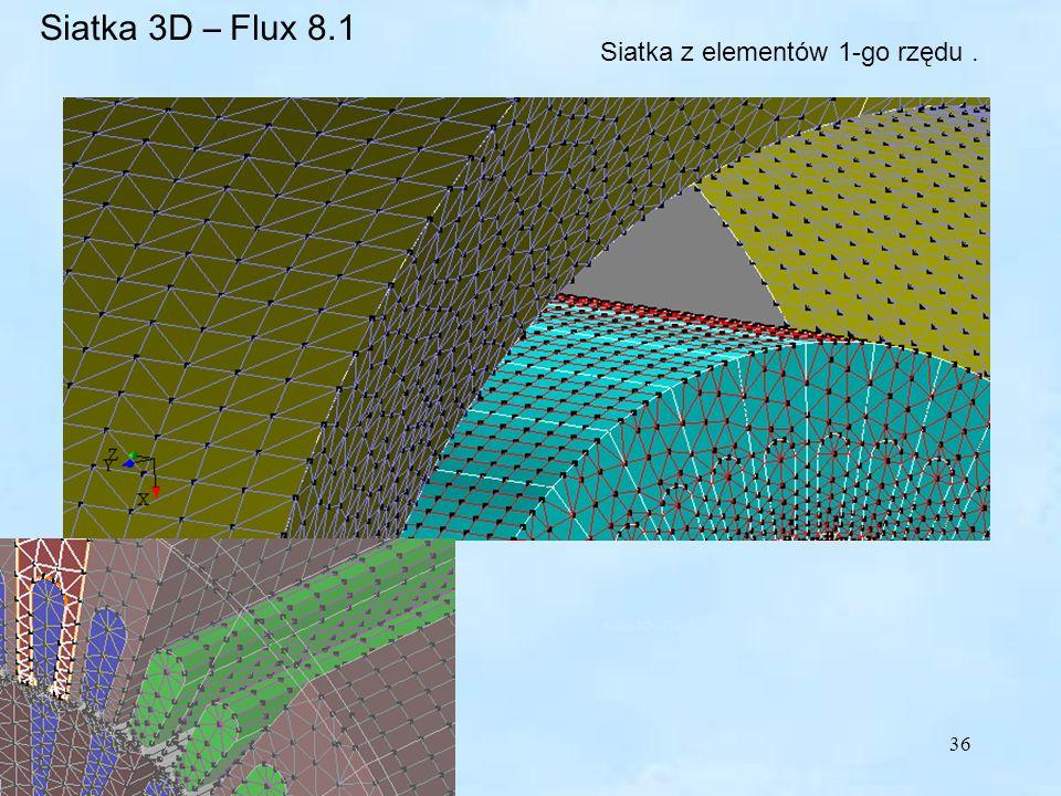 36 Siatka z elementów 1-go rzędu. Siatka 3D – Flux 8.1 Siatka 3D – Flux 8.1 elementy 1-go rzędu