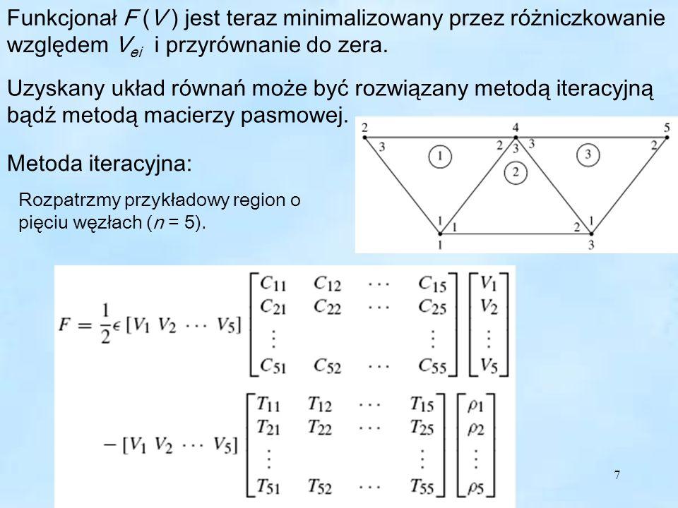 7 Funkcjonał F (V ) jest teraz minimalizowany przez różniczkowanie względem V ei i przyrównanie do zera.