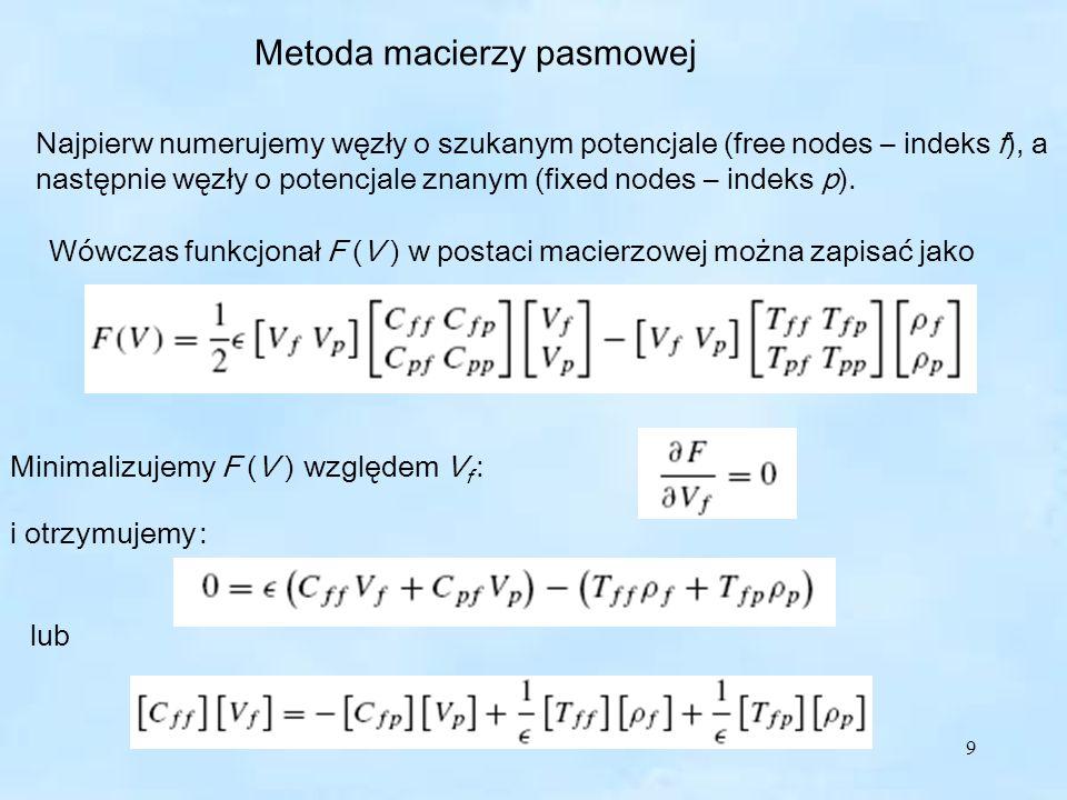 9 Metoda macierzy pasmowej Najpierw numerujemy węzły o szukanym potencjale (free nodes – indeks f), a następnie węzły o potencjale znanym (fixed nodes – indeks p).