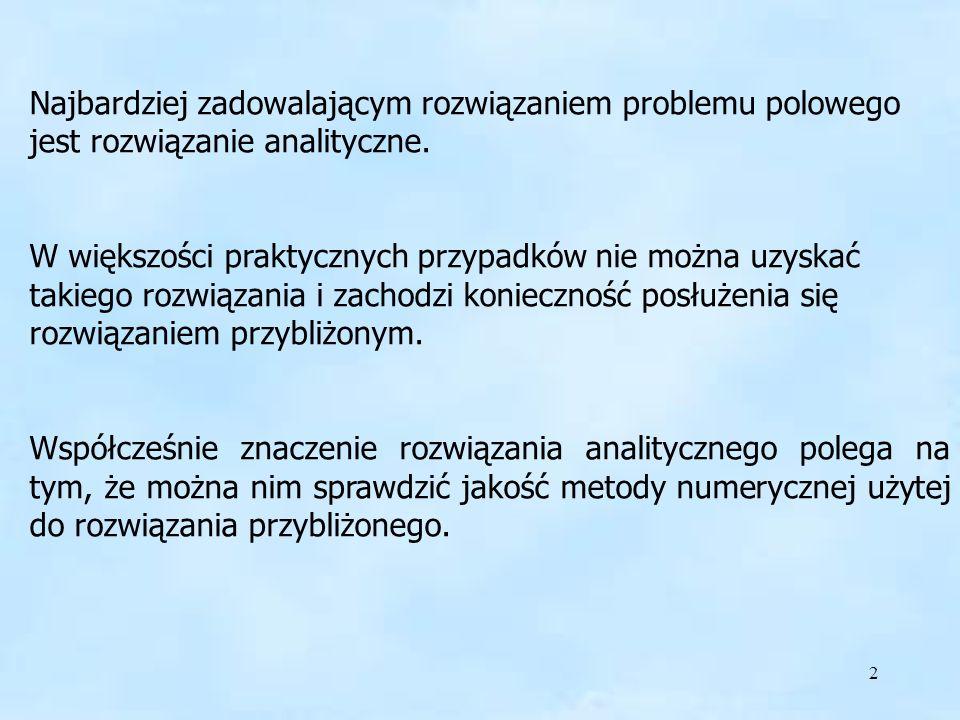 3 Najczęściej używane w rozwiązywaniu problemów EM metody analityczne to: (1) metoda rozdzielenia zmiennych (Fouriera) (2) odbić zwierciadlanych (3) metoda odwzorowań konforemnych (wiernokątnych) (4) metoda superpozycji potencjału magnetycznego (5) metody całkowe