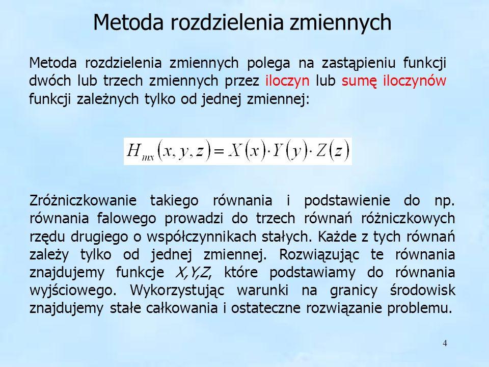 15 Twierdzenie: jeżeli w obszarze W zadana jest funkcja V k (w) zmiennej zespolonej w = u+iv spełniająca równanie Laplacea, oraz jeśli istnieje funkcja w(z) = u(x;y) + iv(x;y) odwzorowująca Z na W, to V k (z) przedstawia potencjał zespolony w obszarze Z.