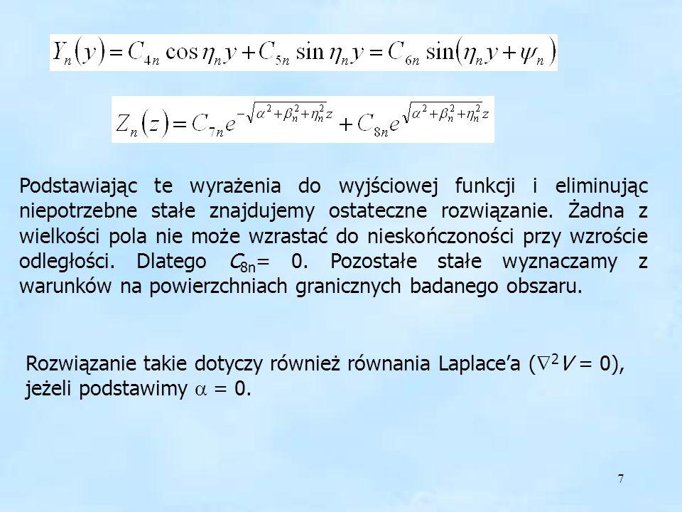 8 Równanie falowe we współrzędnych cylindrycznych We współrzędnych cylindrycznych nie można wyodrębnić oddzielnych równań skalarnych dla poszczególnych składowych pola.