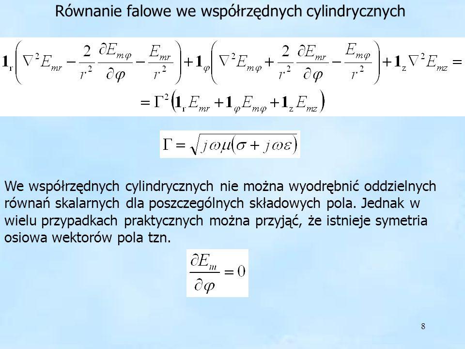 9 wówczas otrzymujemy układ równań skalarnych quasi-trójwymiarowych Rozwiązujemy je przy pomocy podstawienia i postępowania analogicznego jak w układzie prostokątnym.