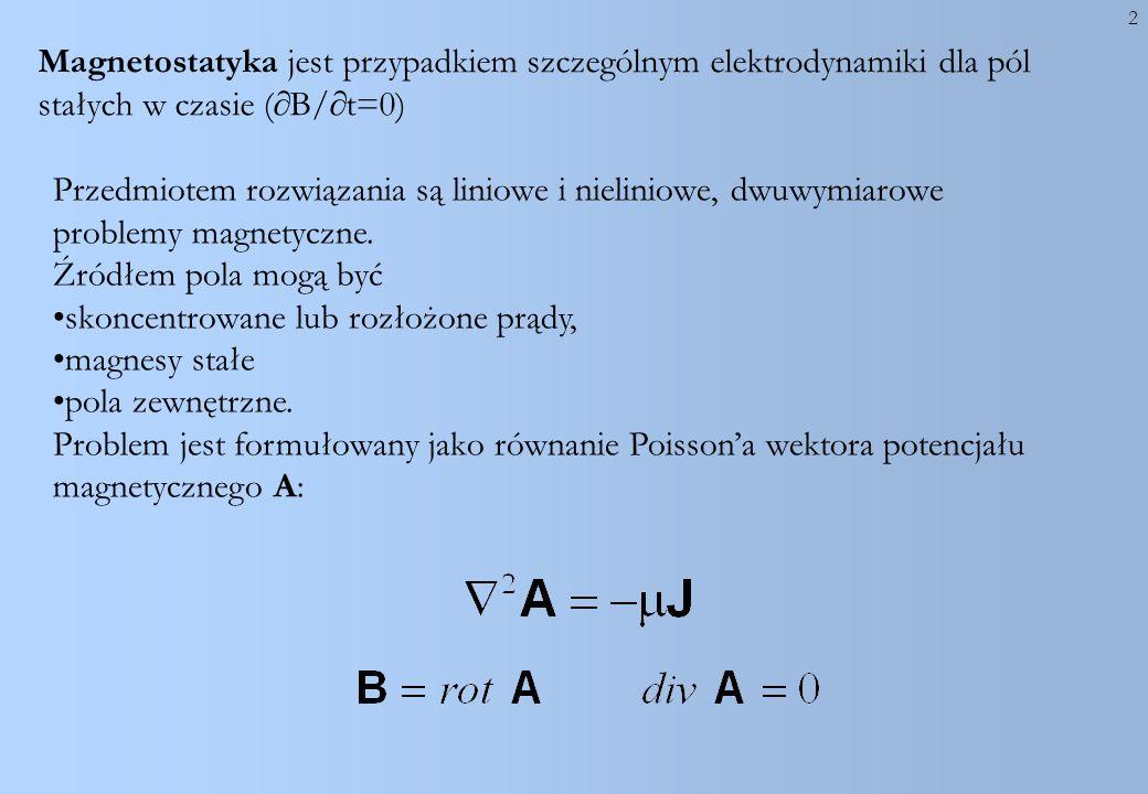 2 Magnetostatyka jest przypadkiem szczególnym elektrodynamiki dla pól stałych w czasie ( B/ t=0) Przedmiotem rozwiązania są liniowe i nieliniowe, dwuw