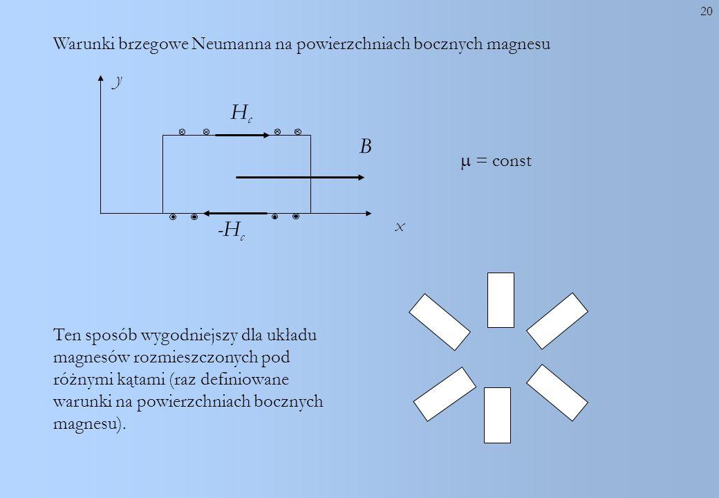 20 = const y Ten sposób wygodniejszy dla układu magnesów rozmieszczonych pod różnymi kątami (raz definiowane warunki na powierzchniach bocznych magnes