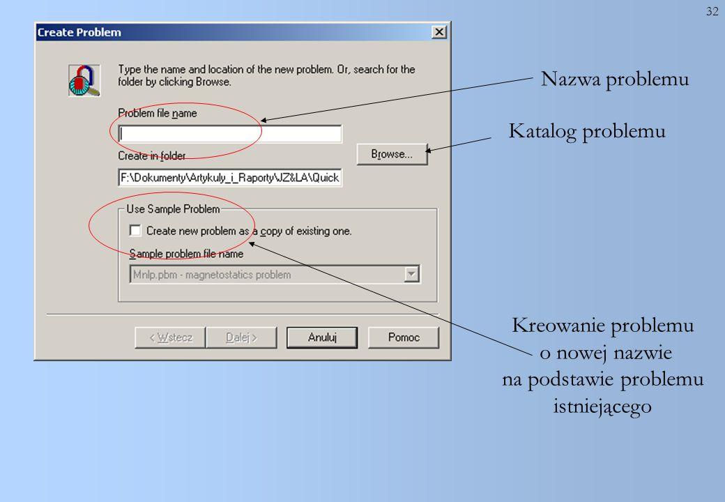 32 Nazwa problemu Kreowanie problemu o nowej nazwie na podstawie problemu istniejącego Katalog problemu