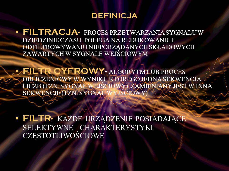 37 Charakterystyka amplitudowa filtrów Bessela, Butterwortha,Eliptycznego, Czebyszewa I i drugiego Czebyszewa II