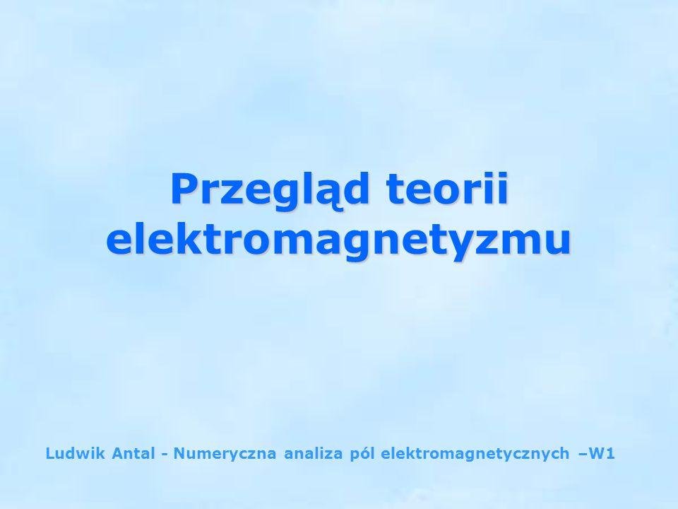 Przegląd teorii elektromagnetyzmu Ludwik Antal - Numeryczna analiza pól elektromagnetycznych –W1