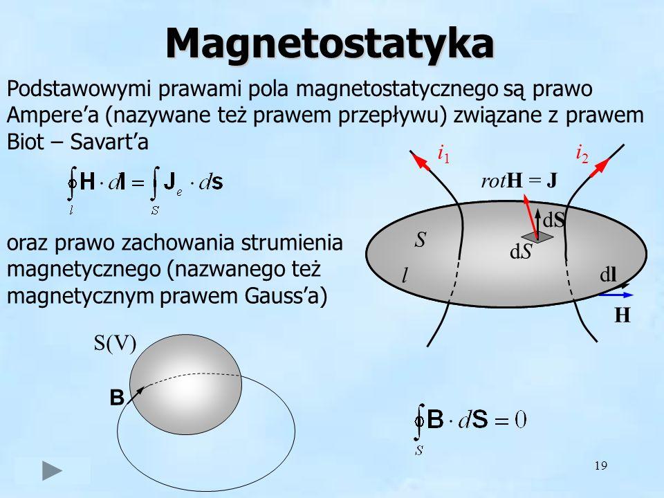 19Magnetostatyka Podstawowymi prawami pola magnetostatycznego są prawo Amperea (nazywane też prawem przepływu) związane z prawem Biot – Savarta oraz p