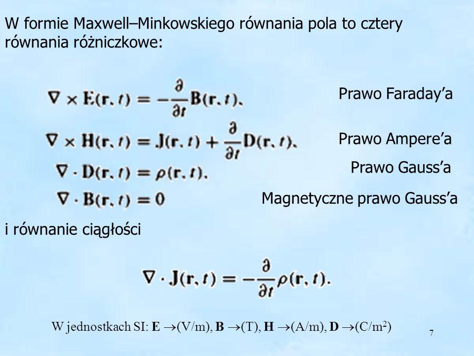 7 W formie Maxwell–Minkowskiego równania pola to cztery równania różniczkowe: i równanie ciągłości Prawo Faradaya Prawo Amperea Prawo Gaussa Magnetycz