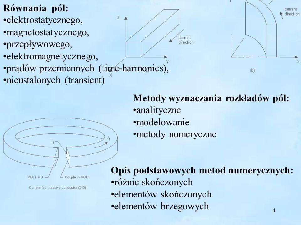 4 Równania pól: elektrostatycznego, magnetostatycznego, przepływowego, elektromagnetycznego, prądów przemiennych (time-harmonics), nieustalonych (tran
