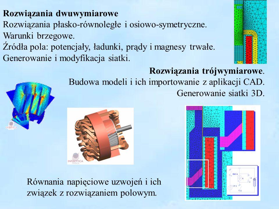 5 Rozwiązania dwuwymiarowe Rozwiązania płasko-równoległe i osiowo-symetryczne. Warunki brzegowe. Źródła pola: potencjały, ładunki, prądy i magnesy trw