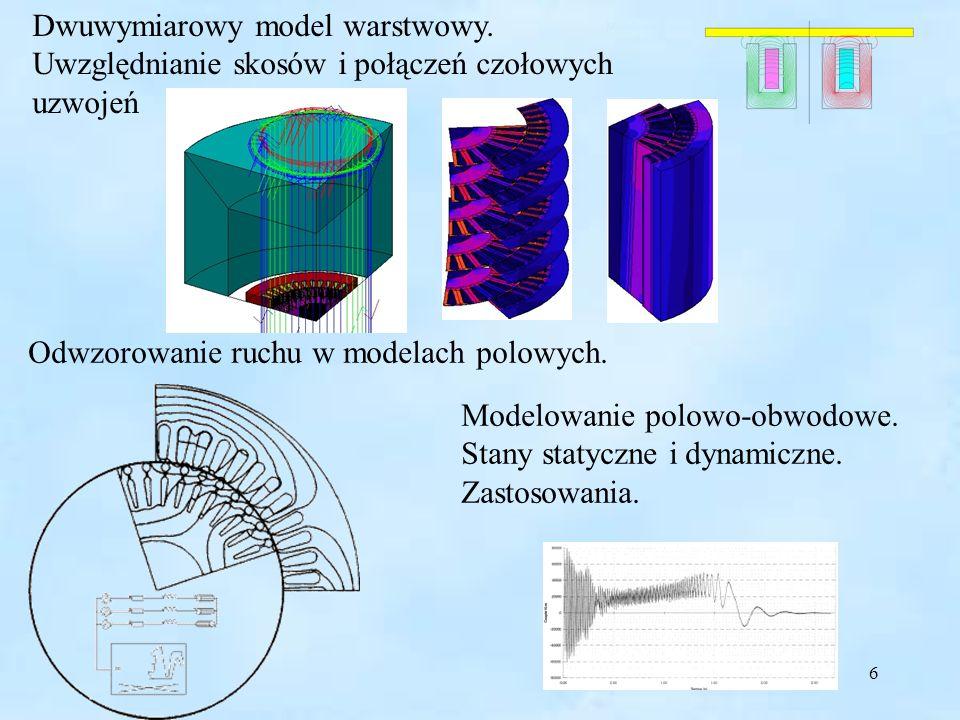 6 Dwuwymiarowy model warstwowy. Uwzględnianie skosów i połączeń czołowych uzwojeń Odwzorowanie ruchu w modelach polowych. Modelowanie polowo-obwodowe.