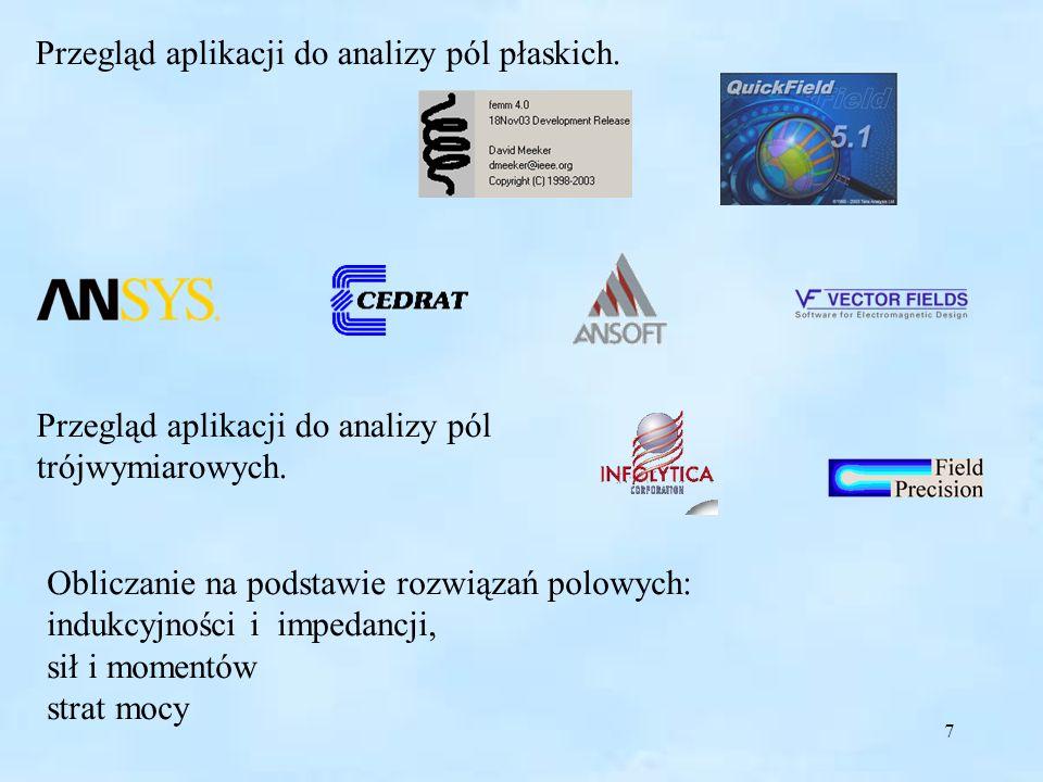 7 Przegląd aplikacji do analizy pól płaskich. Przegląd aplikacji do analizy pól trójwymiarowych. Obliczanie na podstawie rozwiązań polowych: indukcyjn