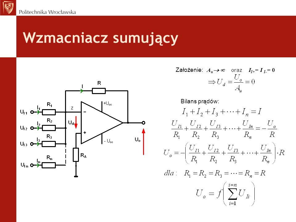 Wzmacniacz sumujący Założenie: A u oraz I I+ = I I- = 0 Bilans prądów: