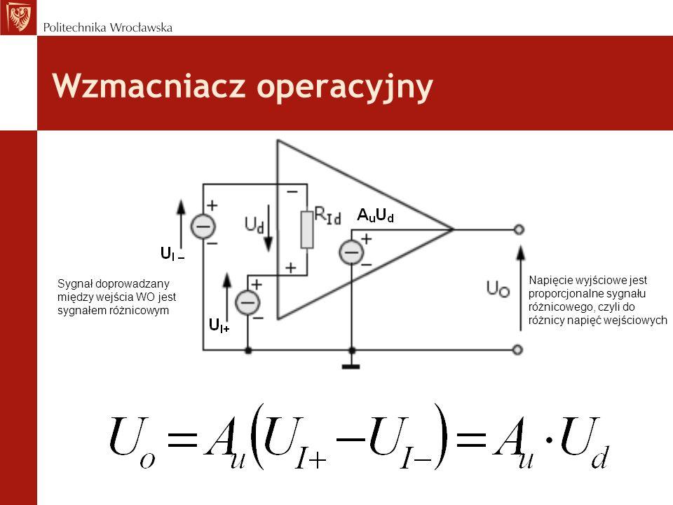 Wzmacniacz operacyjny Sygnał doprowadzany między wejścia WO jest sygnałem różnicowym Napięcie wyjściowe jest proporcjonalne sygnału różnicowego, czyli