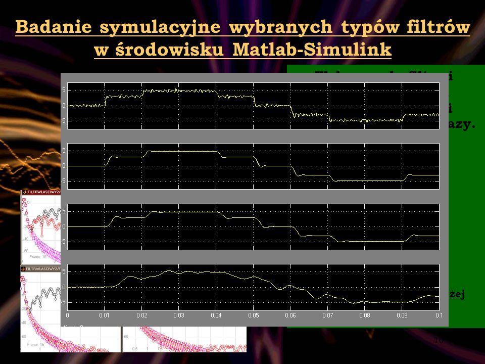 10 Badanie symulacyjne wybranych typów filtrów w środowisku Matlab-Simulink Wpływ rzędu filtru i pasma przejścia na dokładność filtracji co do amplitu