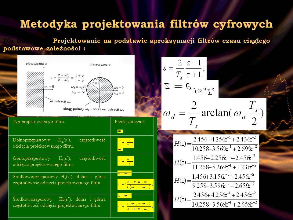 4 Metodyka projektowania filtrów cyfrowych Interpolacja trygonometryczna W tej metodzie projektowania funkcja H(e jω ) poszukiwanego układu jest po prostu interpolacyjnym wielomianem trygonometrycznym stopą (N-1) Projektowanie za pomocą sum częściowych szeregu Fouriera.